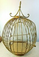 """Vintage Round Bird Cage Metal Gold Gilt 17 1/2"""" Tall 13"""" Dia Hanging Or Table"""