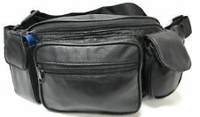 leather fanny pack with 2 phone pockets and 3 zipper pockets Black New