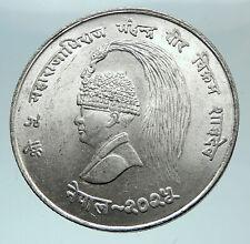 1968 NEPAL King Mahendra Bir Bikram 10 Rupee LARGE Silver Nepalese Coin i81575