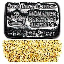 1 TROY OZ .999 SILVER MONARCH HAND POURED CROWN BAR + 10 PIECE ALSAKAN GOLD NUGS