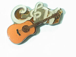 Vintage Country & Western Guitar Pin , Lapel Pin, Hat Tack (lg) (**)