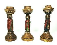 Vtg Lot of 3 Wood Hand Carved Religious Christmas Jesus Saints Candlesticks 8.5""