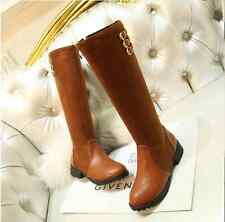 Womens Block Knee High Boots Side Zip Warm Plus Size Girls Knight Fashion E898