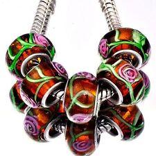 5pcs Brown Lampwork Green Stripe Murano Glass Bead European Fit Charm Bracelets