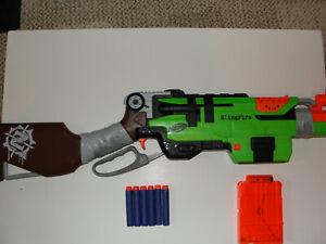 Nerf Zombie Strike SlingFire Blaster Gun Cartridge Bullets Darts Green Orange