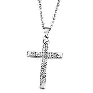 Goldmaid Collier Kreuz 925 Sterlingsilber 53 weiße Zirkonia Echtschmuck NEU