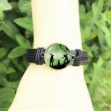 mm Glass Cabochon Leather Charm Bracelet Zombie Horror Dead Black Bangle 20