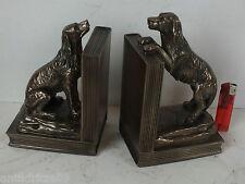1 Paar schwere sehr Schöne Originelle Buchstützen Hund Hunde bronziert