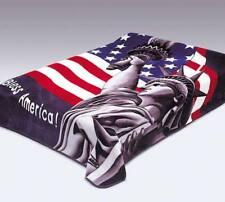 King Size Solaron Korean Mink Soft Plush Blanket GOD BLESS AMERICA USA FLAG