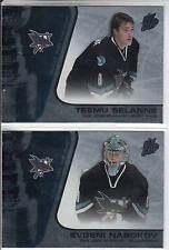 02/03 Pacific Quest for the Cup San Jose Sharks 2 card Team Set Selanne Nabokov