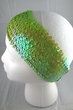 Wide sequin headband lime green adult teen 2.5 inch shiny stretchy cheerleader