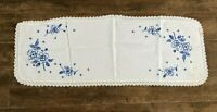 "Vintage dresser scarf blue flowers embroidered runner 36 x 14"" table handmade"