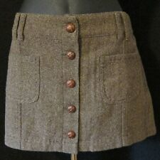 New Sz 8 Brown Tweed Button Front 4 Pocket Mini Skirt Hip Hugger American Eagle