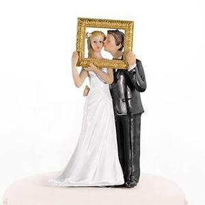 Kissing Couple in Photo Frame Bride & Groom Wedding Cake Topper