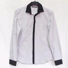 MENS CELIO CLUB SIZE S button down dress shirt GRAY LONG SLEEVE SLIM FIT COTTON
