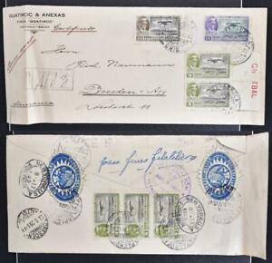 MEXICO to GERMANY 1929 Airmails on Finca GUATIMOC Reg Cover TAPACHULA to Dresden