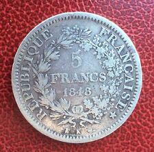 France - 2ème République - Jolie et rare 5 Francs 1848 K  Hercules - date rare