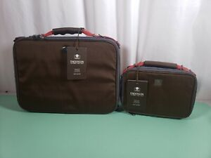 Enderson Timeout Briefcase Brown Perfect Laptop Bag & Small Accessories Bag Set