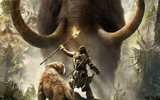 Incorniciato stampa-Uomo delle Caverne & Saber Tooth Tiger combattendo un mammut lanoso (immagine)
