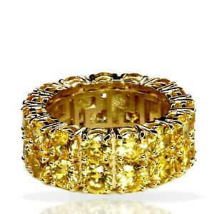 Gold Iced Canary Yellow Lab Diamond 2 Row Tennis Band Ring Bling ICY Mens Womens