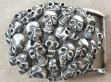 silver SterlingSilver  men/'s skull belt buckle buckles jewelry accessory P1446