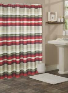 FABRIC SHOWER CURTAIN,Multi-Color  STRIPED  RED
