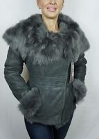 Gray 100% Sheepskin Shearling Leather Lambskin Toscana Hood Jacket Coat XS-5XL