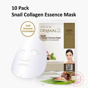 10 DERMAL Snail Moisture COLLAGEN Essence Face Care Mask Sheet Skin Pack Korean
