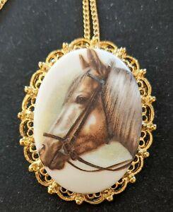Vintage Horse Pony Long Hair Brooch Necklace Pendant Pin Brooch Vivid Beautiful