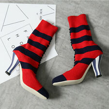 Knitted Striped Elastic Ankle Boots Shoes High Heel Sock Boots Stilettos Womens