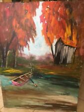 Anna Sandhu Ray Original Oil Fall Scene 30X40 Signed