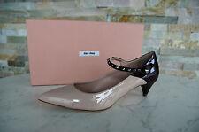 Miu Miu Prada de salón talla 39 tachuelas charol zapatos Shoes bicolor nuevo PVP 495 €