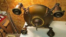 Antique Brass Chandelier & 4 Antique Etched Shades