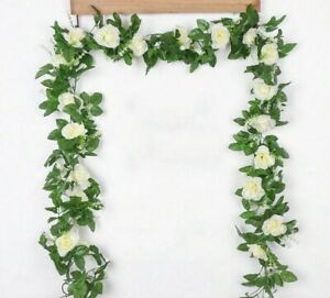 Wedding Flower Ivy Hanging Rose Garland Faux Plants Leaves Artificial Silk Roses