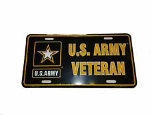 "U.S. Army Vet Veteran Black Star Flag 6""x12"" Aluminum License Plate Made in USA"