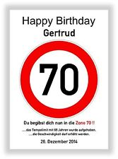 Verkehrszeichen Bild 70 Geburtstag Deko Geschenk persönliches Verkehrsschild NEU