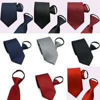 High Quality Men Narrow Necktie Neck Tie Striped Zipper Zip Up