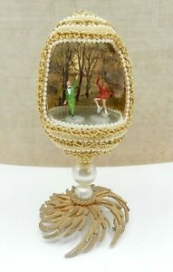 Vintage Faux Pearl Decorated Easter Egg Diorama W Ice Skaters Miniature