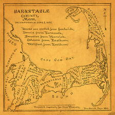 1685 Vintage Barnstable County Map 24x24 Giclee 12 Color Art Print Poster