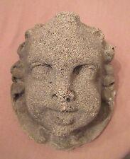 antique heavy wall mount baby cherub putti cement stone face head decor