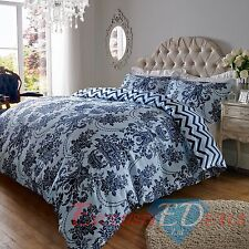 200TC Luxury Damask Printed Duvet Quilt Cover Bedding Set - Various Sizes