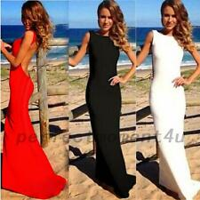 Red Carpet Floor Length Open Back Formal Gown Evening Wedding Party Maxi Dress