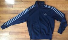 Adidas Trefoil Zip-Up Track Jacket, Navy w/ Grey Stripe&Logo, Unisex, Men'sSmall