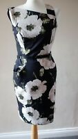 U NINE WEST DRESS SIZE US 4 / UK 8 BLACK MIX FLORAL PRINT WITH BELT POCKETS