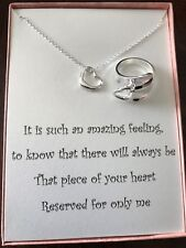 Silver Plated Heart Necklace Matching Opening Water Drop Heart Ring With Poem