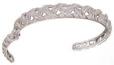 Judith Ripka Braided Berge CZ Diamonique Hinged Sterling Silver Medium Cuff