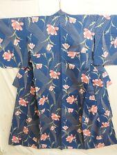 Grayish Blue Cotton Japanese YUKATA with Flowers E613