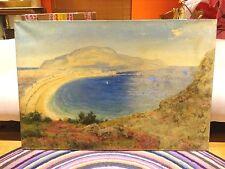 Fine Huge 19th Century Llandudno Bay Wales Landscape Antique Oil Painting KING