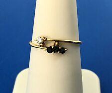 14K Yellow Gold Sapphire Diamond Modernist Bypass September Sweetheart Wire Ring