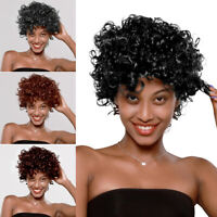 Synthetic Heat Resistant Short Curly Afro African American Wigs for Black Women